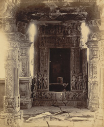 Interior of temple looking towards linga shrine, Nohta, Damoh District